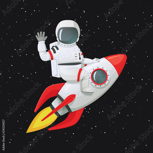 Astronaut sitting astride the rocket ship waving one hand and touching the ship with the other Wallpaper Mural