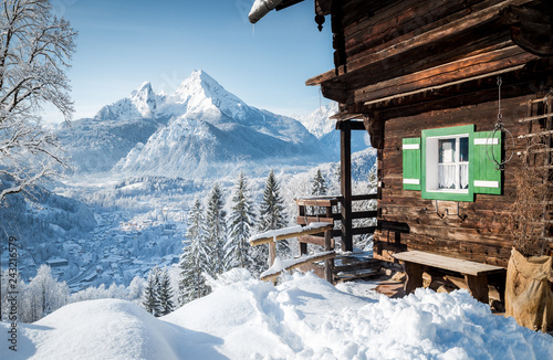 Winter scenery in the Alps with mountain hut