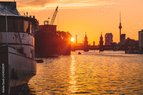 Deurstickers Centraal Europa Berlin skyline with Spree river at sunset, Germany