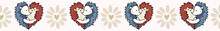Vector Cute Hedgehog Hug Hearts. Seamless Repeat Border. Hand Drawn 2 Spiny Animals, Daisy Flower For Romantic Valentines Day, Wedding Or Kawai Anniversary Celebration Banner Ribbon. Free Hug Concept.
