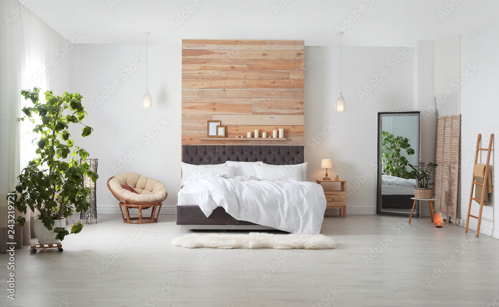 Fototapety, obrazy: Large comfortable bed in stylish room. Modern interior design