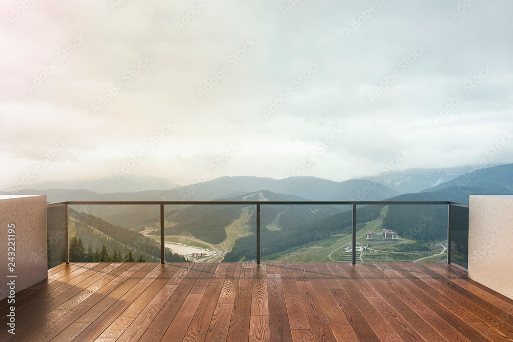 Fototapety, obrazy: Balcony view of  mountains. Landscape. Sunny Day. Terrace with a beautiful view.