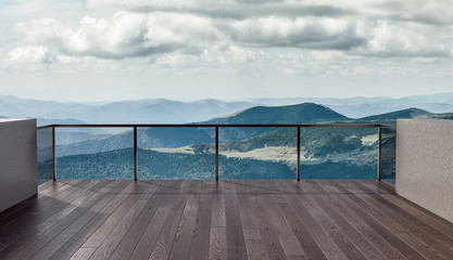 FototapetaBalcony view of  mountains. Landscape. Sunny Day. Terrace with a beautiful view.