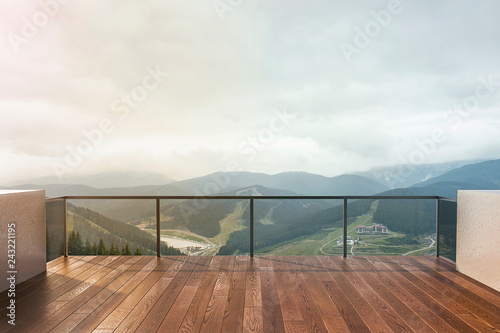 Balcony view of  mountains Wallpaper Mural