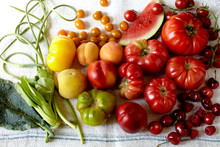 Rainbow Of Fruits And Vegetables On LInen