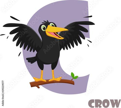 Fotografija Cute Animal Zoo Alphabet. Letter C for crow