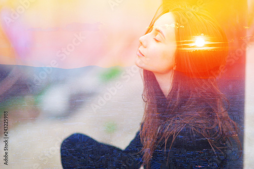 Obraz Double multiply exposure portrait of a dreamy cute woman meditating outdoors with eyes closed, combined with photograph of nature, sunrise or sunset. closeup. Psychology power of mind concept. - fototapety do salonu