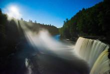 Moonlight Illuminates Mist From Tahquamenon Falls, Michigan