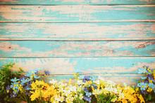 Flowers Blossom On Vintage Wooden Background, Border Frame Design. Vintage Color Tone - Concept Flower Of Spring Or Summer Background