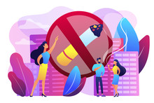 Business Woman Pointing At No Smoking Sign And People With Cigarettes. Smoking Cigarettes, Nicotine Addiction, Smoking Health Risks Concept. Bright Vibrant Violet Vector Isolated Illustration