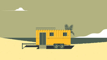 Landscape Architecture, Yellow Camper Van On The Beach With Ocean In Background, Vintage Style
