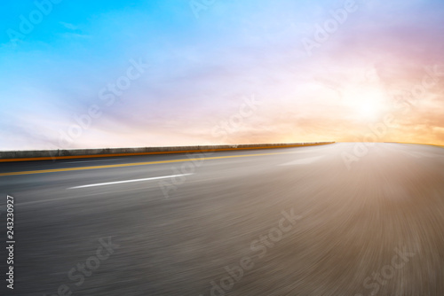 Door stickers Gray Sky Highway Asphalt Road and beautiful sky sunset scenery