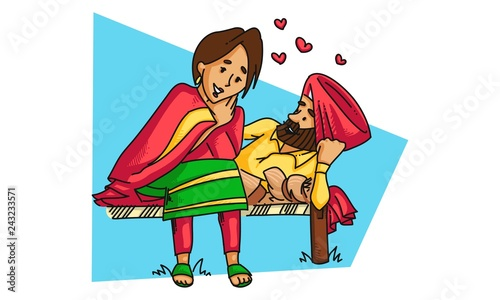 Fototapeta Vector cartoon illustration of  a punjabi sardar couple having a romantic conversation