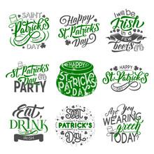 St Patrick Badge With Irish Holiday Green Clover