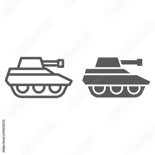Military tank line and glyph icon, war and army, vehicle sign, vector graphics, a linear pattern on a white background Billede på lærred