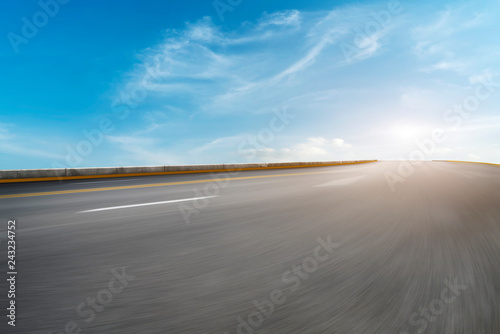 Ingelijste posters Grijs Sky Highway Asphalt Road and beautiful sky sunset scenery