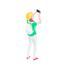 Young Female Tourist Taking Picture With Smartphone. Isometric Vector Illustration