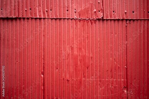 Foto  Red corrugated metal zinc wall
