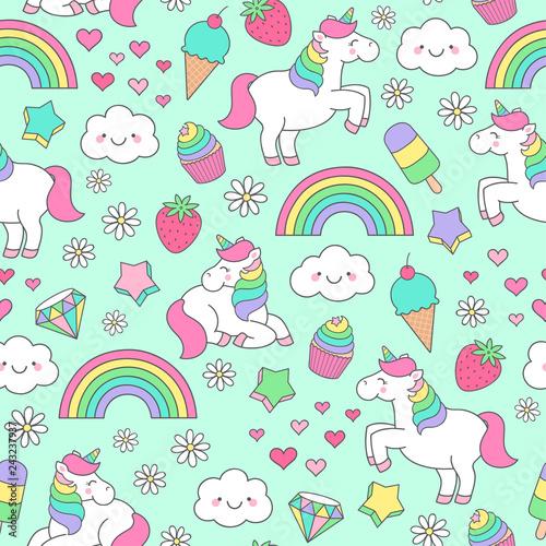 fototapeta na ścianę Cute pastel hand drawn unicorn and doodle elements seamless pattern background