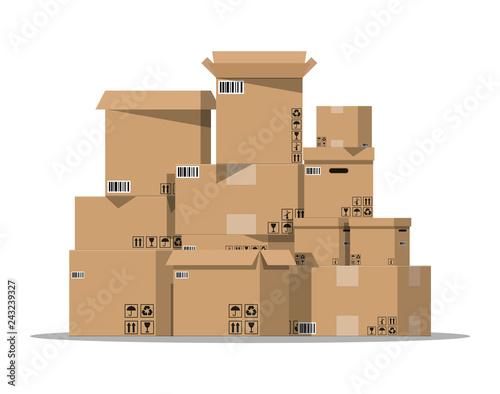 Fototapeta  Pile cardboard boxes set
