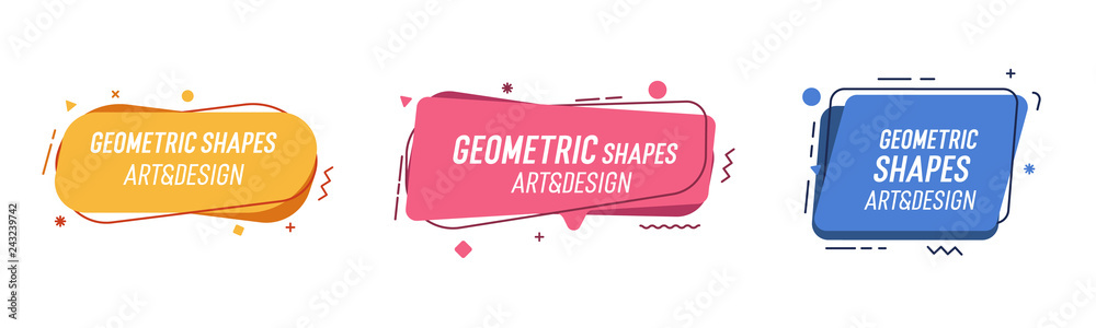 Fototapety, obrazy: Set of modern organic shapes. Fluid vector trendy elements. Template graphics with geometric speech bubbles and banners with frames to put your own text