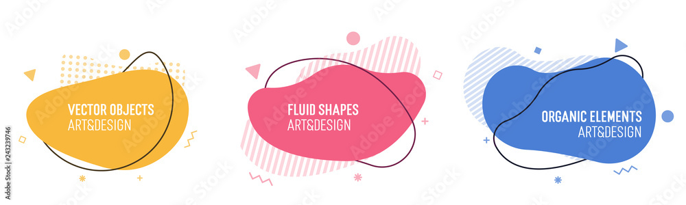 Fototapeta Set of modern organic shapes. Fluid vector trendy elements. Template graphics with liquid geometric boxes and frames to put your own text