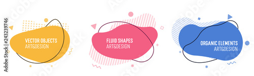 Fototapeta Set of modern organic shapes. Fluid vector trendy elements. Template graphics with liquid geometric boxes and frames to put your own text obraz