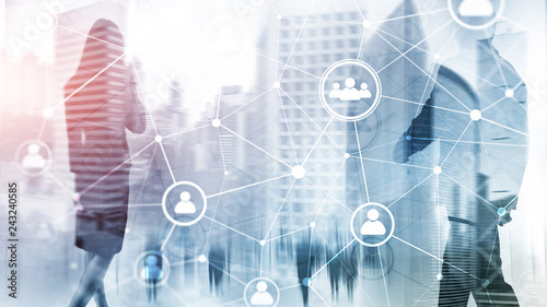 Fototapeta Double exposure people network structure HR - Human resources management and recruitment concept. obraz na płótnie