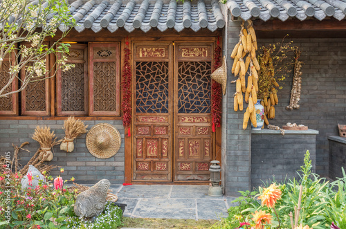 Fotografie, Obraz  Exterior of Chinese farm house in China. Oriental background