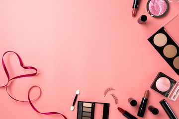 cosmetic make up flat lay pink background copy space text beauty  graphic content