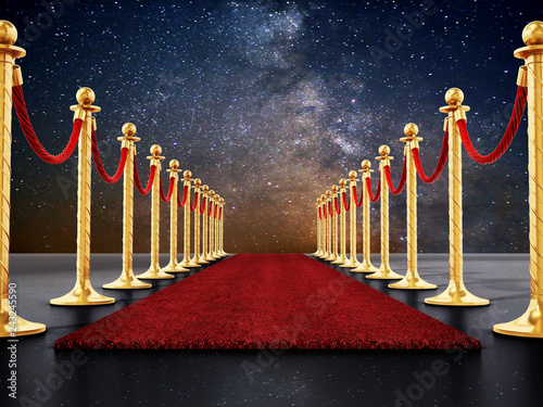 Photo  Velvet ropes and golden barriers along the red carpet