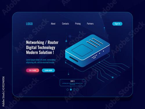 Fényképezés  Server room, data transfer concept isometric, router internet splitter, incoming