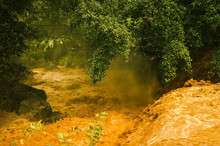 In The Rainy Season, The River Flows Violently., In The Rainy Season Flash Flood Runoff From The Mountains, Severe.