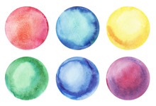 Six Round Abstract Watercolor Colorful Backgrounds  With A Radial Gradient. Hand-drawn Paper Illustration