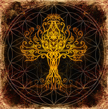 Tree Of Life Symbol On Structured Ornamental Background, Flower Of Life Pattern, Yggdrasil.