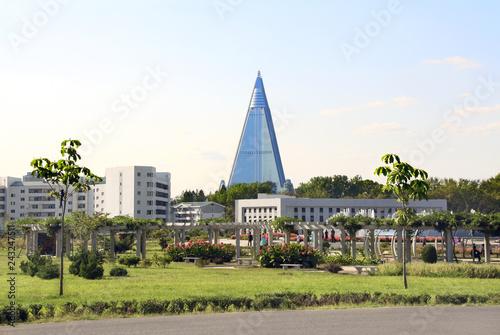 Photo sur Toile Lieu connus d Asie City garden and residential buildings in Pyongyang, North Korea