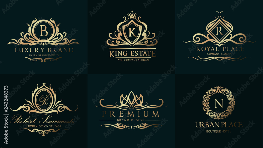 Fototapeta Luxury Wedding Logo with Ornament Baroque style design for invitation and luxurious brand identity and print template.
