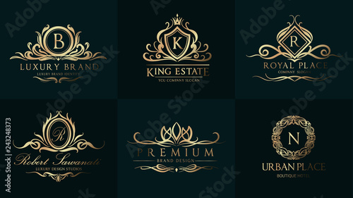 Luxury Wedding Logo with Ornament Baroque style design for invitation and luxurious brand identity and print template Poster Mural XXL