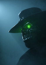 Cowboy In An Iron Skull Mask With Green Luminous Eyes. Undead Gunslinger Cowboy. Halloween Concept. Halloween Cowboy Costume. Old West Bandit. Creative Cover Design For The Western World. 3D Rendering