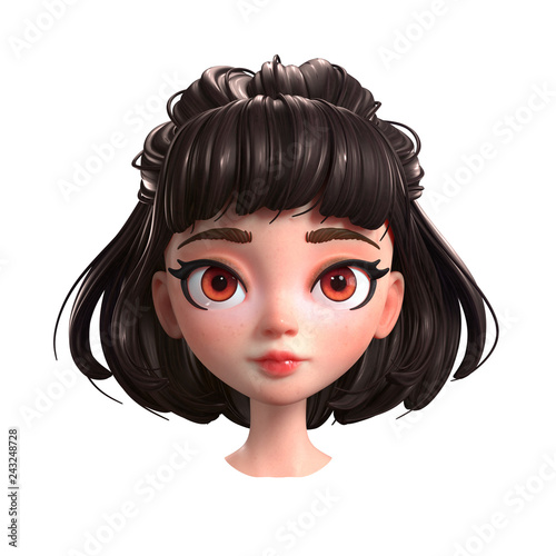 3d Cartoon Character Of A Brunette Girl With Big Brown Eyes Beautiful Romantic Girl Young Woman With Short Brown Hair Portrait Of Cute Cartoon Girl 3d Rendering On White Background Buy
