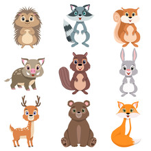 Cute Forest Animals And Birds Set, Squirrel, Hare, Boar, Raccoon, Hedgehog, Fox, Bear, Deer Cartoon Characters Vector Illustration