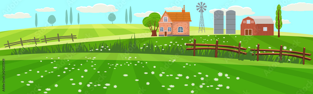 Fototapeta Rural spring landscape countryside with farm field with green grass, flowers, trees. Farmland with house, windmill and hay stacks. Outdoor village scenery, farming background. Vector illustration