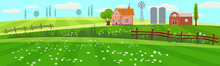 Rural Spring Landscape Countryside With Farm Field With Green Grass, Flowers, Trees. Farmland With House, Windmill And Hay Stacks. Outdoor Village Scenery, Farming Background. Vector Illustration