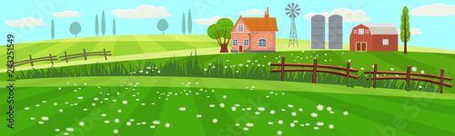 Leinwand Poster Rural spring landscape countryside with farm field with green grass, flowers, trees