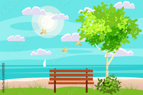 Spoed Foto op Canvas Turkoois Spring landscape on seaside. ocean. Bench in outdoor. Birds singing. Blue sky. Bright juicy colors. Vector, illustration, isolated. Cartoon style