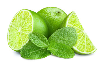 Fresh limes and mint leaves...