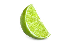 Ripe Slice Of Green Lime, Isol...