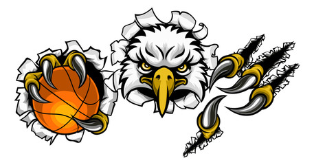 Naklejka 3D An eagle bird basketball sports mascot cartoon character ripping through the background holding a ball