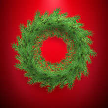 New Year And Christmas Wreath Greeting Template Frame. Traditional Winter Decoration With Evergreen Green Branches. EPS 10