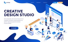Modern Flat Design Isometric Concept Of Creative Design Studio For Website And Mobile Website. Landing Page Template. Easy To Edit And Customize. Vector Illustration
